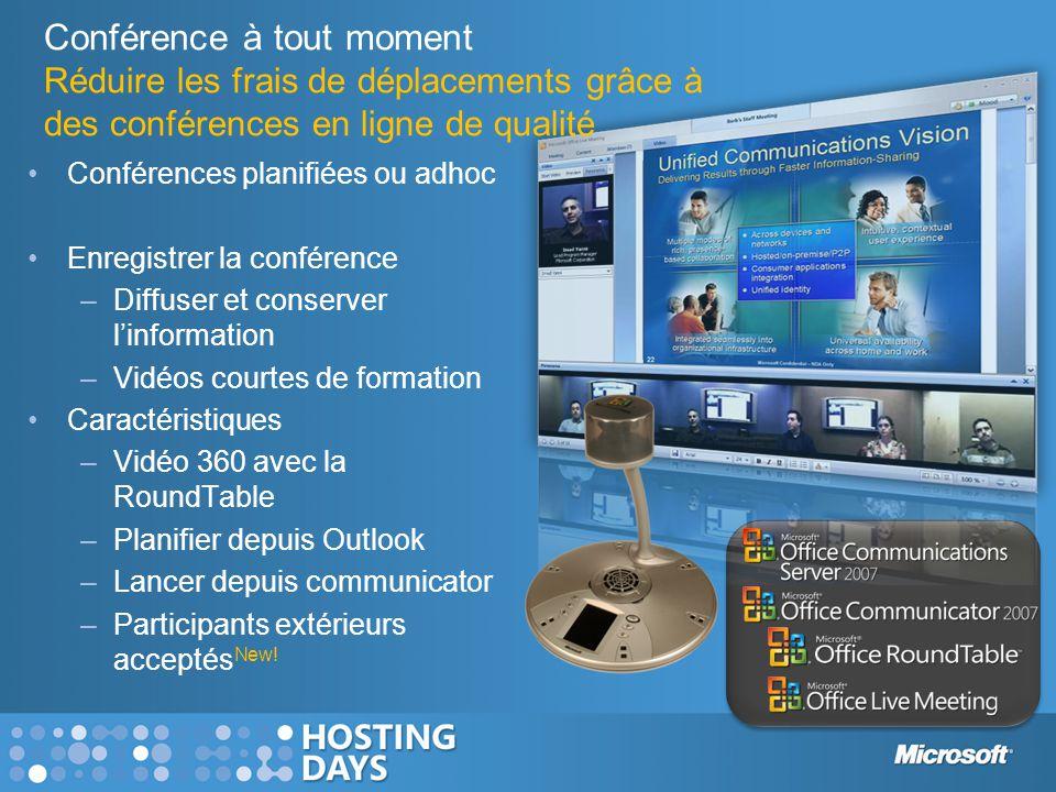 Conférence à tout moment Réduire les frais de déplacements grâce à des conférences en ligne de qualité •Conférences planifiées ou adhoc •Enregistrer l