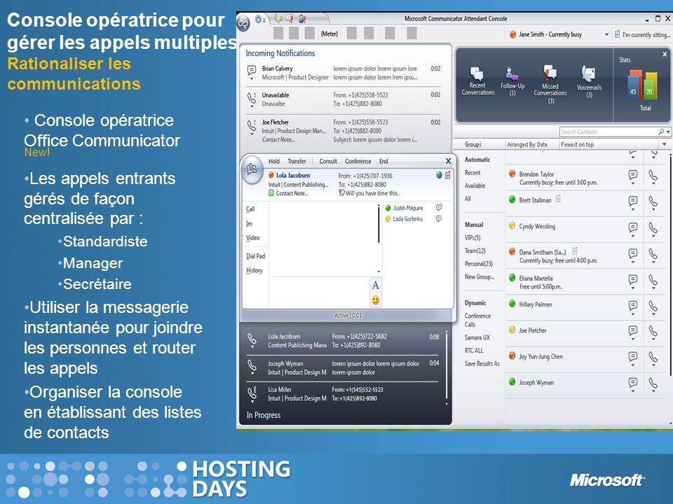Console opératrice pour gérer les appels multiples Rationaliser les communications • Console opératrice Office Communicator New! •Les appels entrants