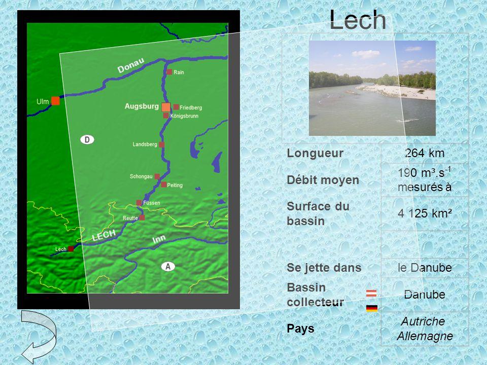 66.034.066.034.0 Lech Longueur264 km Débit moyen 190 m³.s -1 mesurés à Surface du bassin 4 125 km² Se jette dansle Danube Bassin collecteur Danube Pays Autriche Allemagne