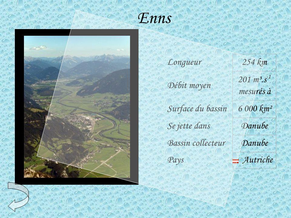Enns Longueur254 km Débit moyen 201 m³.s -1 mesurés à Surface du bassin6 000 km² Se jette dansDanube Bassin collecteurDanube Pays Autriche