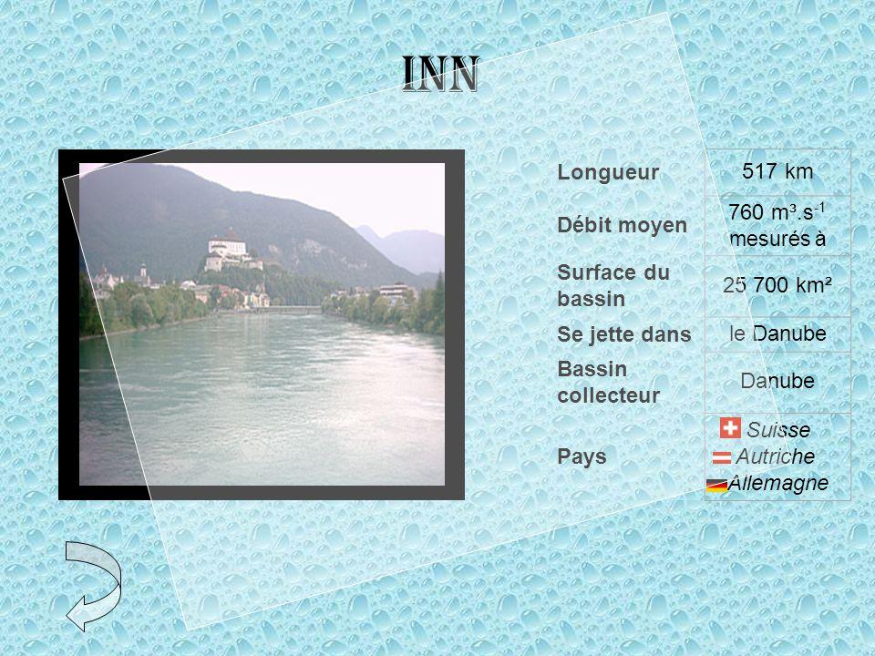 Inn Longueur517 km Débit moyen 760 m³.s -1 mesurés à Surface du bassin 25 700 km² Se jette dansle Danube Bassin collecteur Danube Pays Suisse Autriche Allemagne
