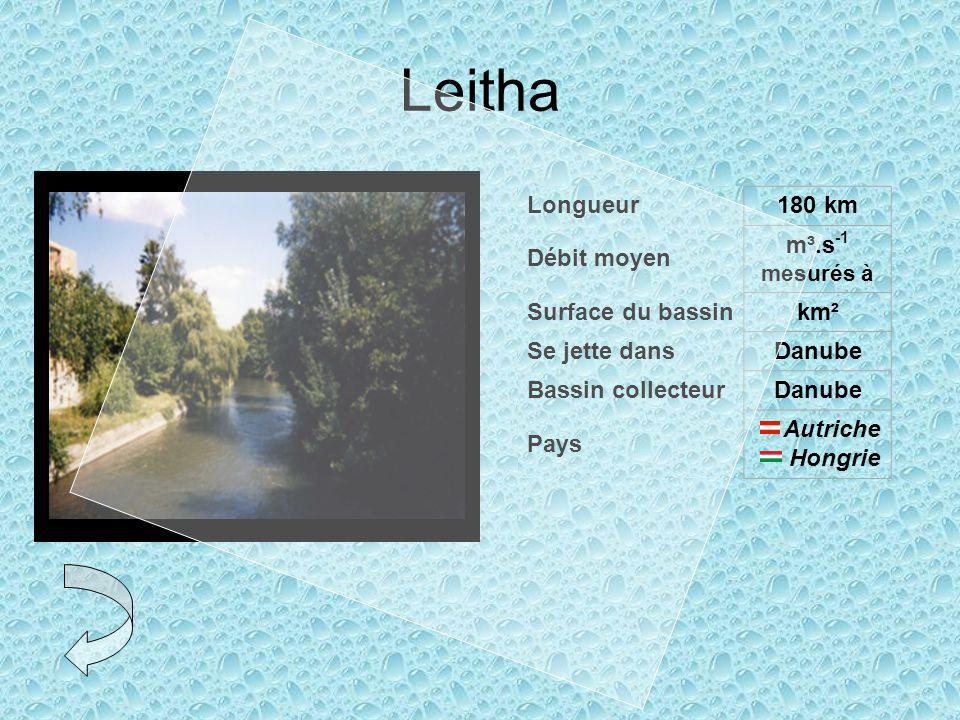 Leitha Longueur180 km Débit moyen m³.s -1 mesurés à Surface du bassinkm² Se jette dansDanube Bassin collecteurDanube Pays Autriche Hongrie