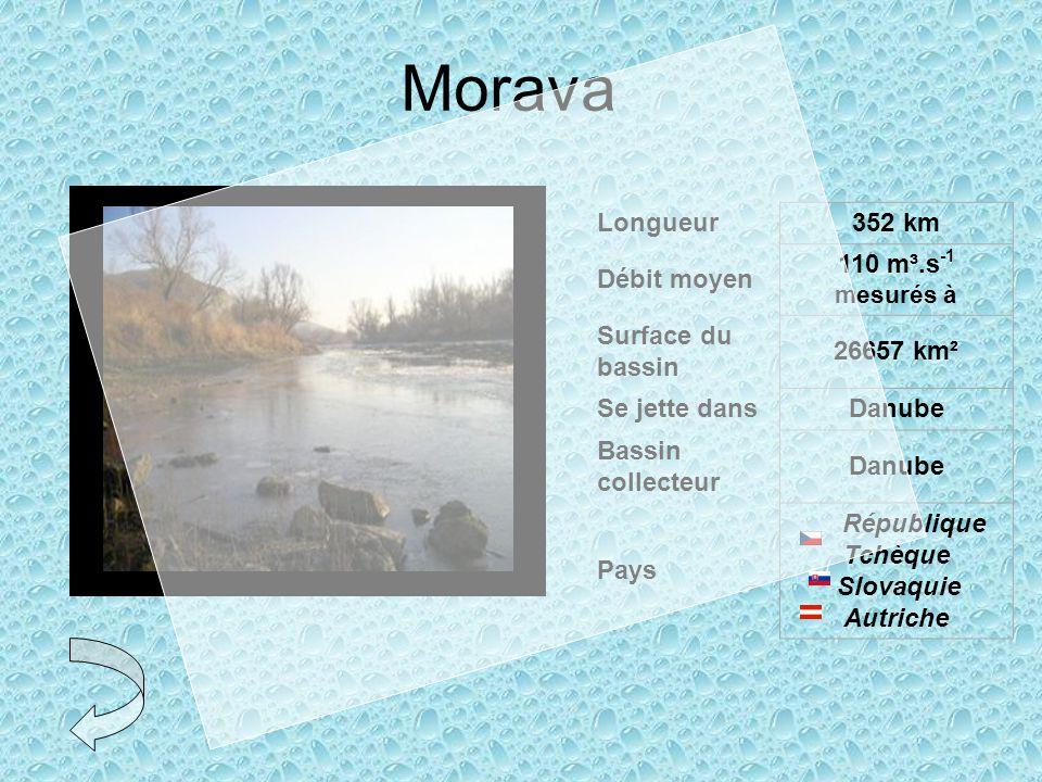 Morava Longueur352 km Débit moyen 110 m³.s -1 mesurés à Surface du bassin 26657 km² Se jette dansDanube Bassin collecteur Danube Pays République Tchèque Slovaquie Autriche