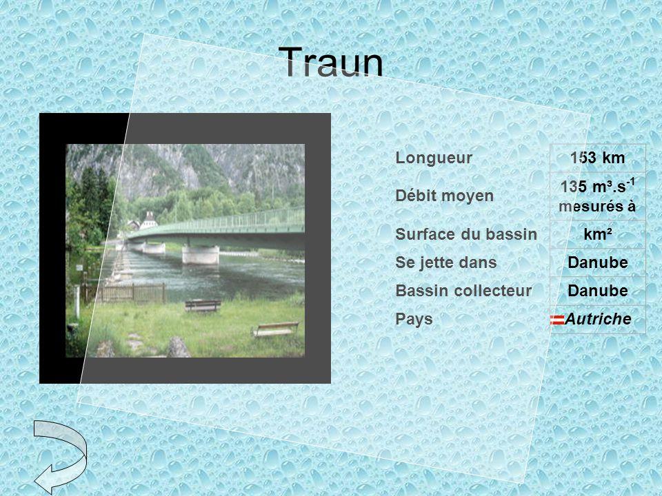 Traun Longueur153 km Débit moyen 135 m³.s -1 mesurés à Surface du bassinkm² Se jette dansDanube Bassin collecteurDanube PaysAutriche