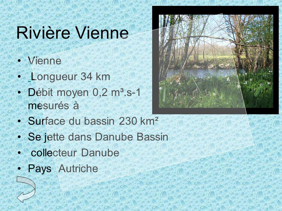 Rivière Vienne •Vienne • Longueur 34 km •Débit moyen 0,2 m³.s-1 mesurés à •Surface du bassin 230 km² •Se jette dans Danube Bassin • collecteur Danube •Pays Autriche