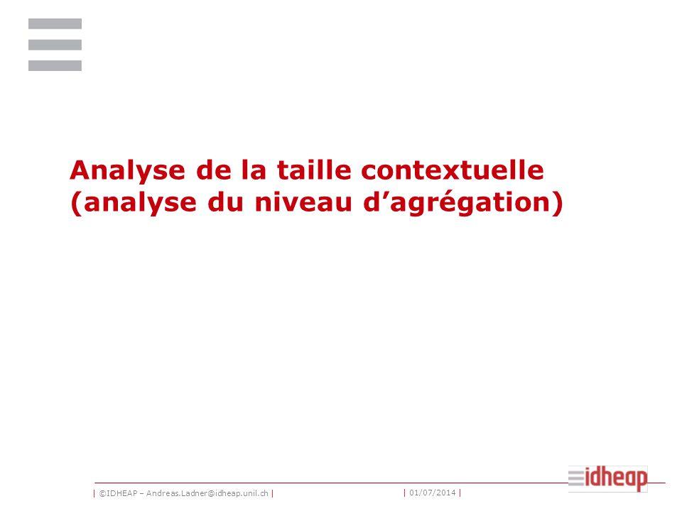 | ©IDHEAP – Andreas.Ladner@idheap.unil.ch | | 01/07/2014 | Analyse de la taille contextuelle (analyse du niveau d'agrégation)