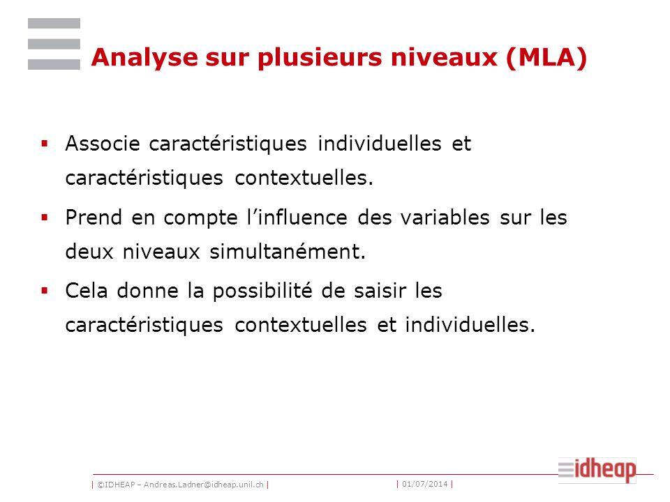 | ©IDHEAP – Andreas.Ladner@idheap.unil.ch | | 01/07/2014 | Analyse sur plusieurs niveaux (MLA)  Associe caractéristiques individuelles et caractérist