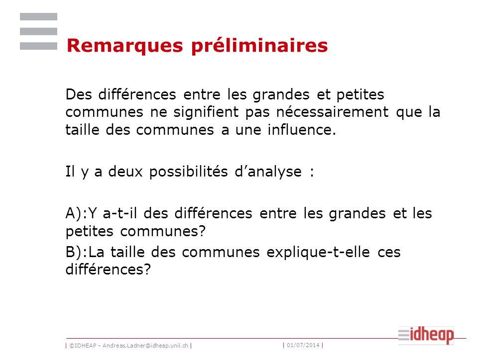 | ©IDHEAP – Andreas.Ladner@idheap.unil.ch | | 01/07/2014 | Remarques préliminaires Des différences entre les grandes et petites communes ne signifient pas nécessairement que la taille des communes a une influence.