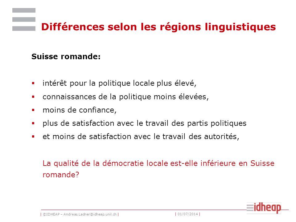 | ©IDHEAP – Andreas.Ladner@idheap.unil.ch | | 01/07/2014 | Différences selon les régions linguistiques Suisse romande:  intérêt pour la politique loc