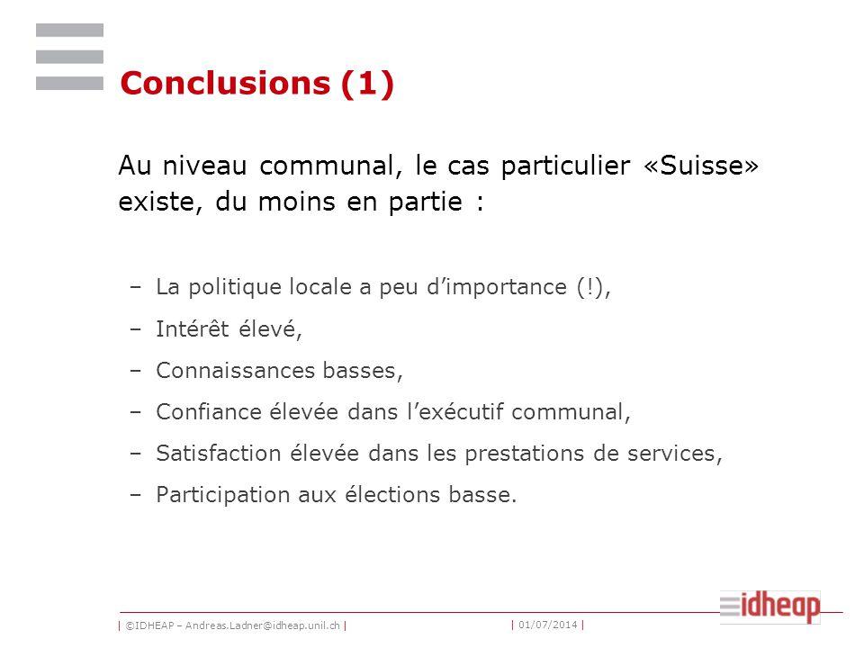| ©IDHEAP – Andreas.Ladner@idheap.unil.ch | | 01/07/2014 | Conclusions (1) Au niveau communal, le cas particulier «Suisse» existe, du moins en partie : –La politique locale a peu d'importance (!), –Intérêt élevé, –Connaissances basses, –Confiance élevée dans l'exécutif communal, –Satisfaction élevée dans les prestations de services, –Participation aux élections basse.