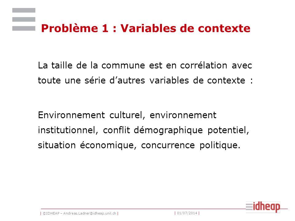 | ©IDHEAP – Andreas.Ladner@idheap.unil.ch | | 01/07/2014 | Problème 1 : Variables de contexte La taille de la commune est en corrélation avec toute un