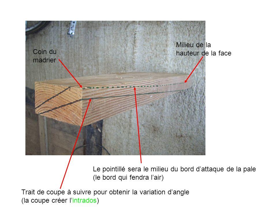 Coin du madrier Milieu de la hauteur de la face Trait de coupe à suivre pour obtenir la variation d'angle (la coupe créer l'intrados) Le pointillé ser