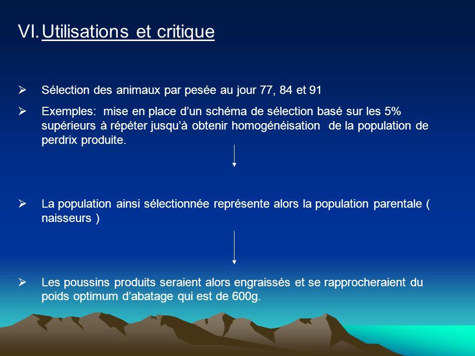 VI.Utilisations et critique  Sélection des animaux par pesée au jour 77, 84 et 91  Exemples: mise en place d'un schéma de sélection basé sur les 5%