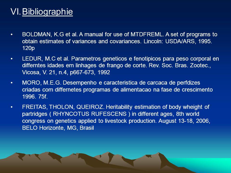 VI.Bibliographie •BOLDMAN, K.G et al.A manual for use of MTDFREML.