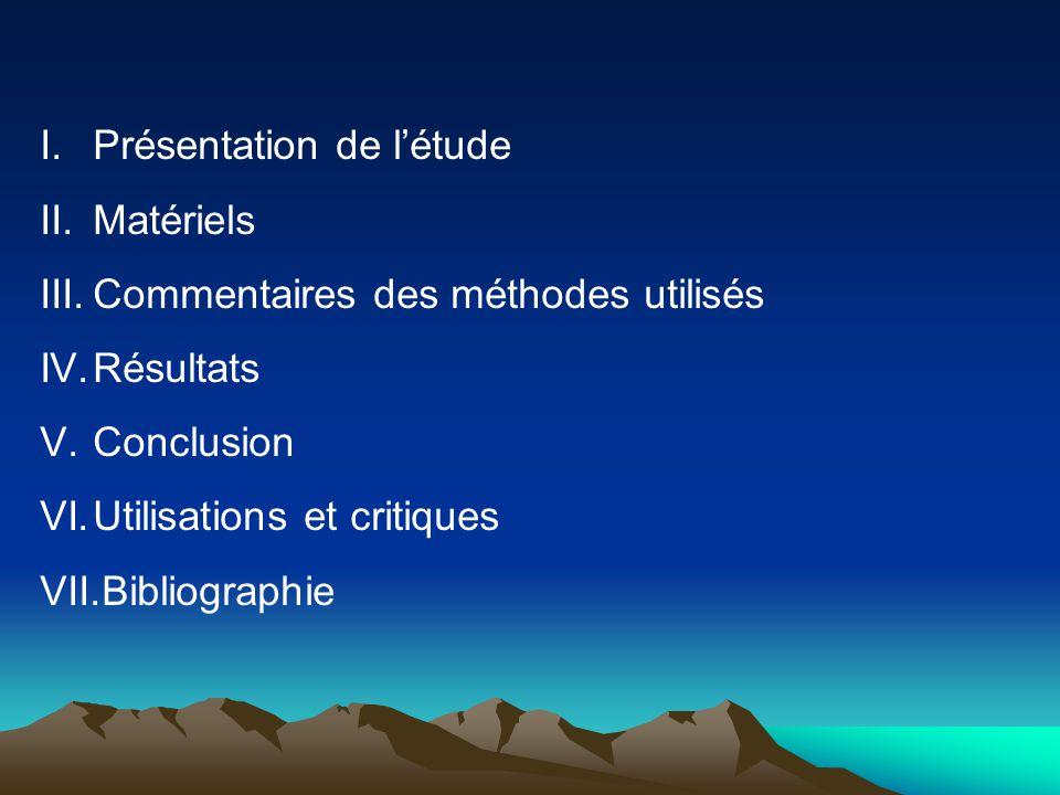I.Présentation de l'étude II.Matériels III.Commentaires des méthodes utilisés IV.Résultats V.Conclusion VI.Utilisations et critiques VII.Bibliographie