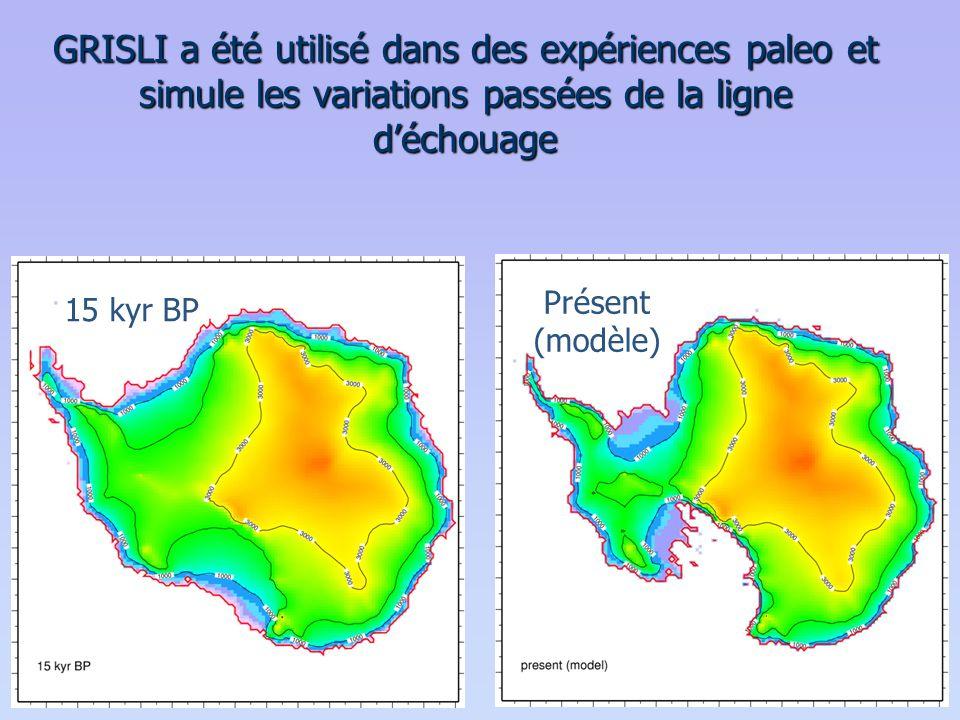 GRISLI a été utilisé dans des expériences paleo et simule les variations passées de la ligne d'échouage 15 kyr BP Présent (modèle)