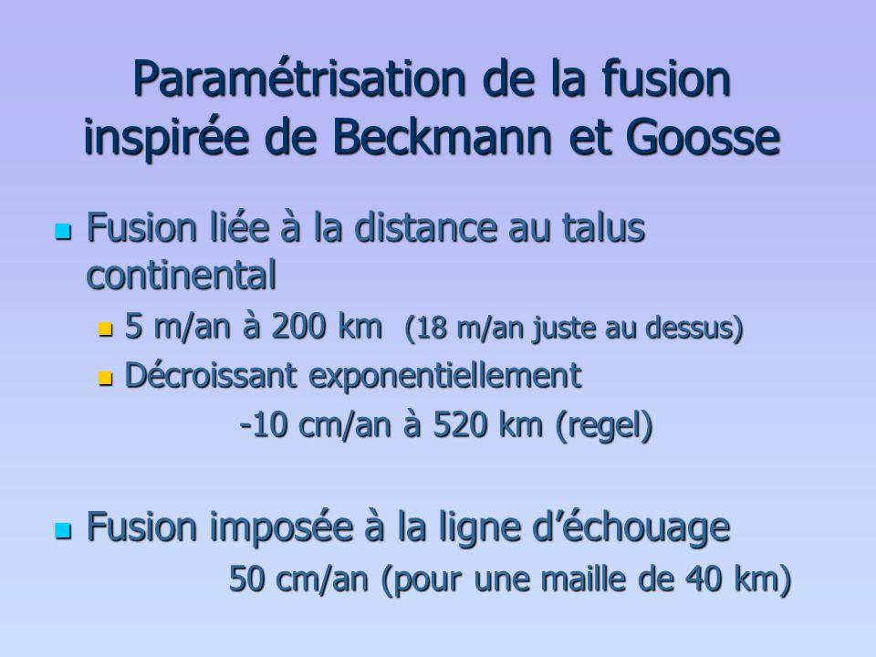 Paramétrisation de la fusion inspirée de Beckmann et Goosse  Fusion liée à la distance au talus continental  5 m/an à 200 km (18 m/an juste au dessu