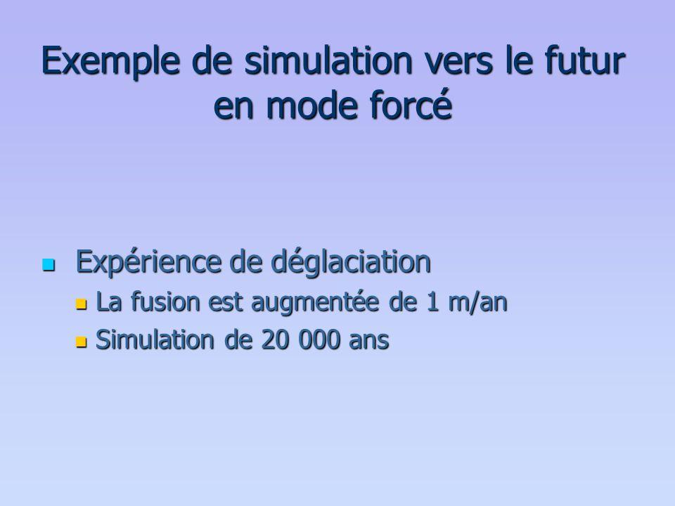Exemple de simulation vers le futur en mode forcé  Expérience de déglaciation  La fusion est augmentée de 1 m/an  Simulation de 20 000 ans