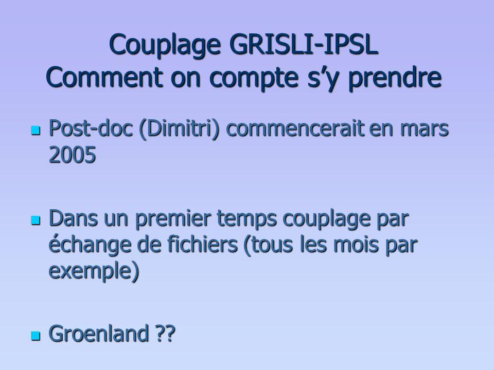 Couplage GRISLI-IPSL Comment on compte s'y prendre  Post-doc (Dimitri) commencerait en mars 2005  Dans un premier temps couplage par échange de fich