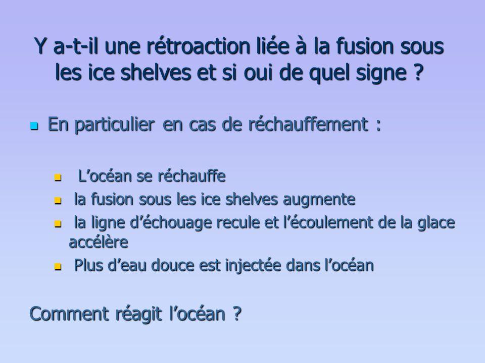 Y a-t-il une rétroaction liée à la fusion sous les ice shelves et si oui de quel signe ?  En particulier en cas de réchauffement :  L'océan se récha