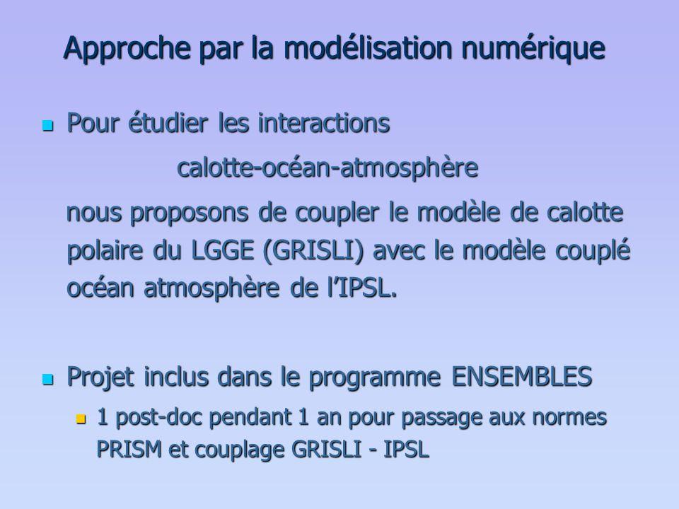 Approche par la modélisation numérique  Pour étudier les interactions calotte-océan-atmosphère nous proposons de coupler le modèle de calotte polaire
