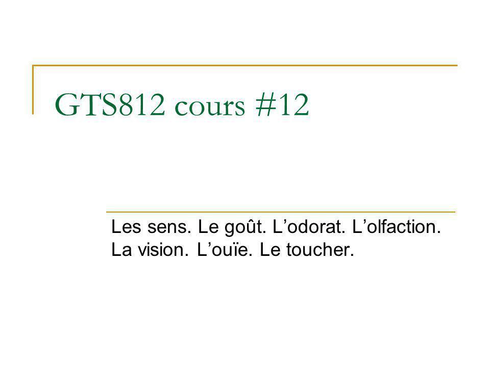 GTS812 cours #12 Les sens. Le goût. L'odorat. L'olfaction. La vision. L'ouïe. Le toucher.