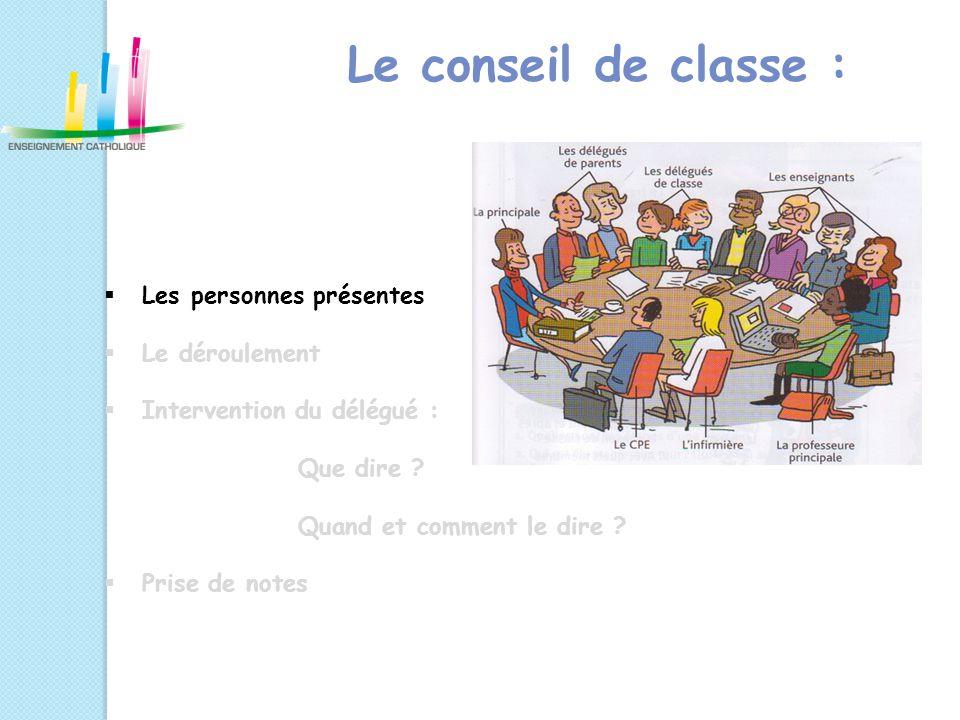 Le conseil de classe :  Les personnes présentes  Le déroulement  Intervention du délégué : Que dire ? Quand et comment le dire ?  Prise de notes