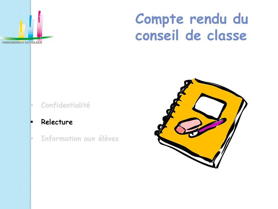 Compte rendu du conseil de classe  Confidentialité  Relecture  Information aux élèves