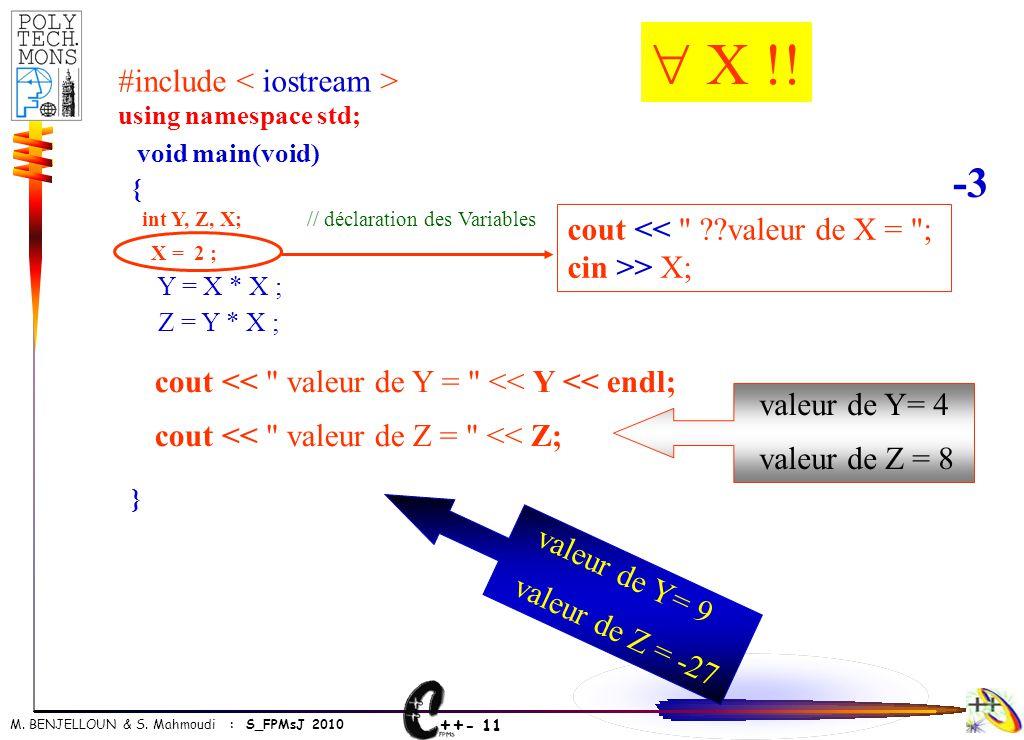 ++ - 11 M. BENJELLOUN & S. Mahmoudi : S_FPMsJ 2010 void main(void) { int Y, Z, X; // déclaration des Variables X = 2 ; Y = X * X ; Z = Y * X ; } cout
