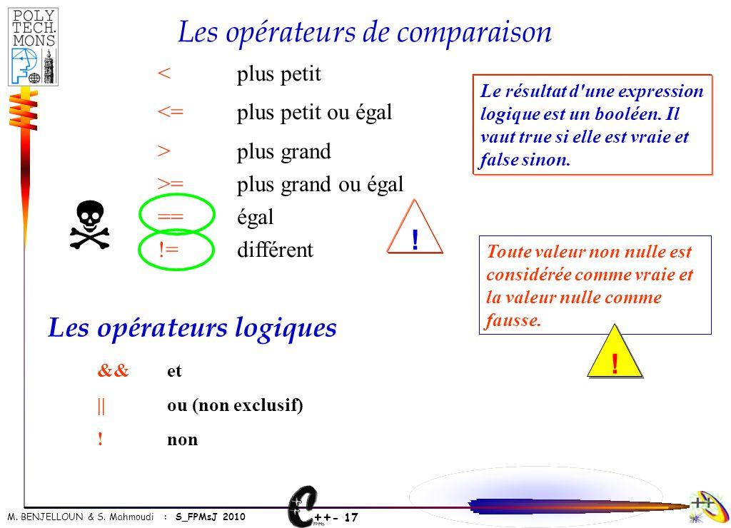 ++ - 17 M. BENJELLOUN & S. Mahmoudi : S_FPMsJ 2010 <plus petit <=plus petit ou égal >plus grand >=plus grand ou égal ==égal !=différent Les opérateurs