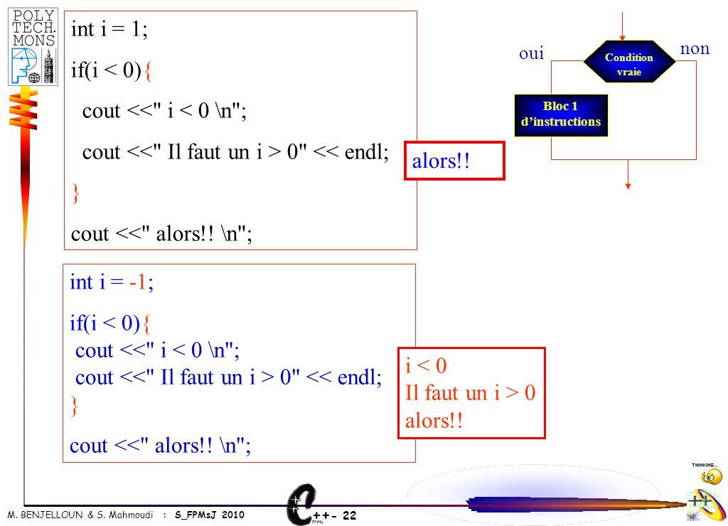 ++ - 22 M. BENJELLOUN & S. Mahmoudi : S_FPMsJ 2010 int i = -1; if(i < 0){ cout <<