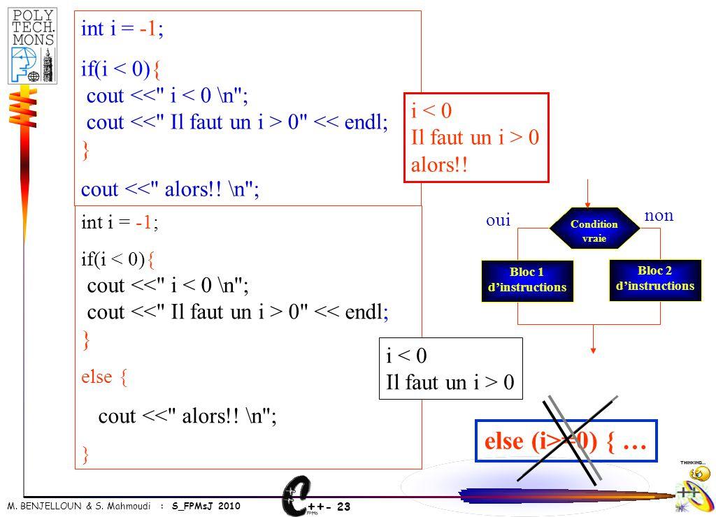 ++ - 23 M. BENJELLOUN & S. Mahmoudi : S_FPMsJ 2010 int i = -1; if(i < 0){ cout <<
