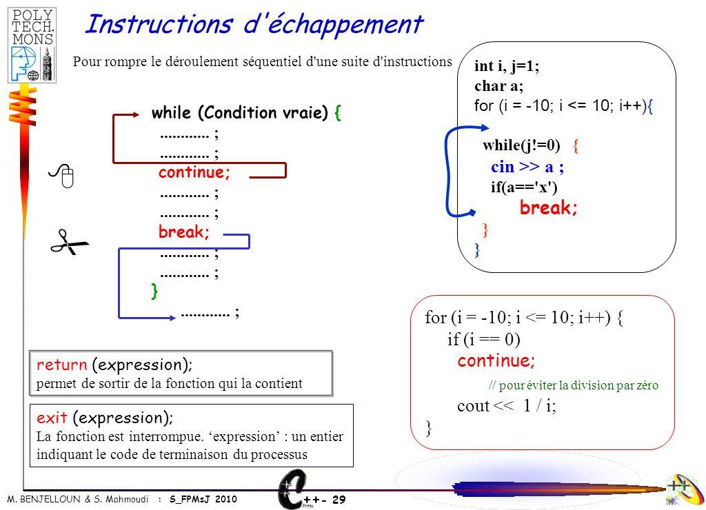 ++ - 29 M. BENJELLOUN & S. Mahmoudi : S_FPMsJ 2010 int i, j=1; char a; for (i = -10; i <= 10; i++){ while(j!=0) { cin >> a ; if(a=='x') break; } } Pou