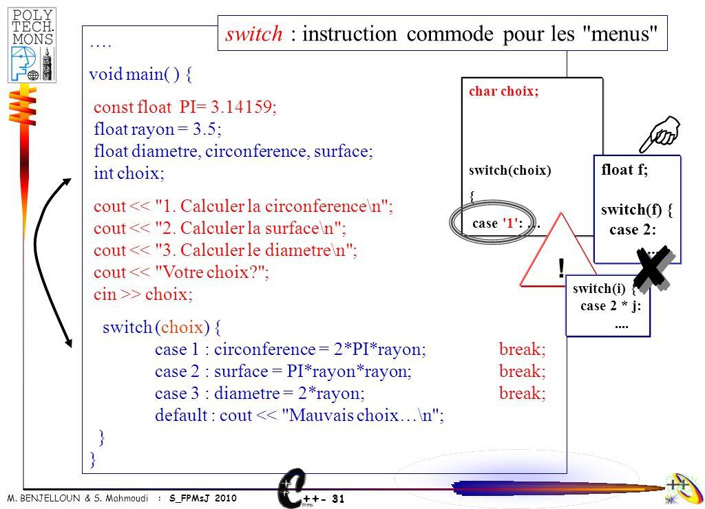 ++ - 31 M. BENJELLOUN & S. Mahmoudi : S_FPMsJ 2010 …. void main( ) { const float PI= 3.14159; float rayon = 3.5; float diametre, circonference, surfac