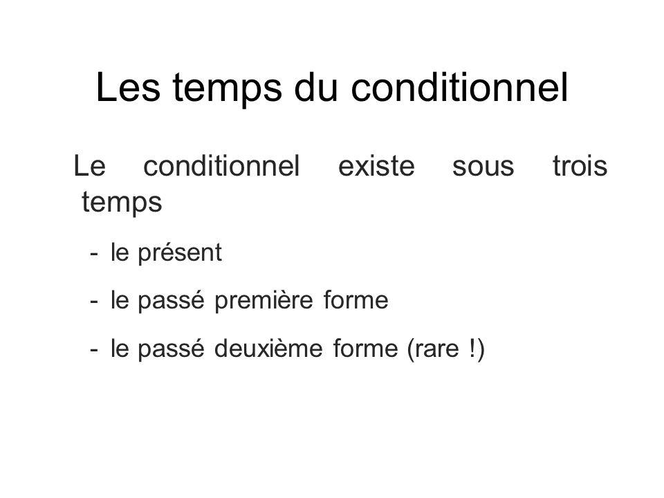 Les temps du conditionnel Le conditionnel existe sous trois temps -le présent -le passé première forme -le passé deuxième forme (rare !)