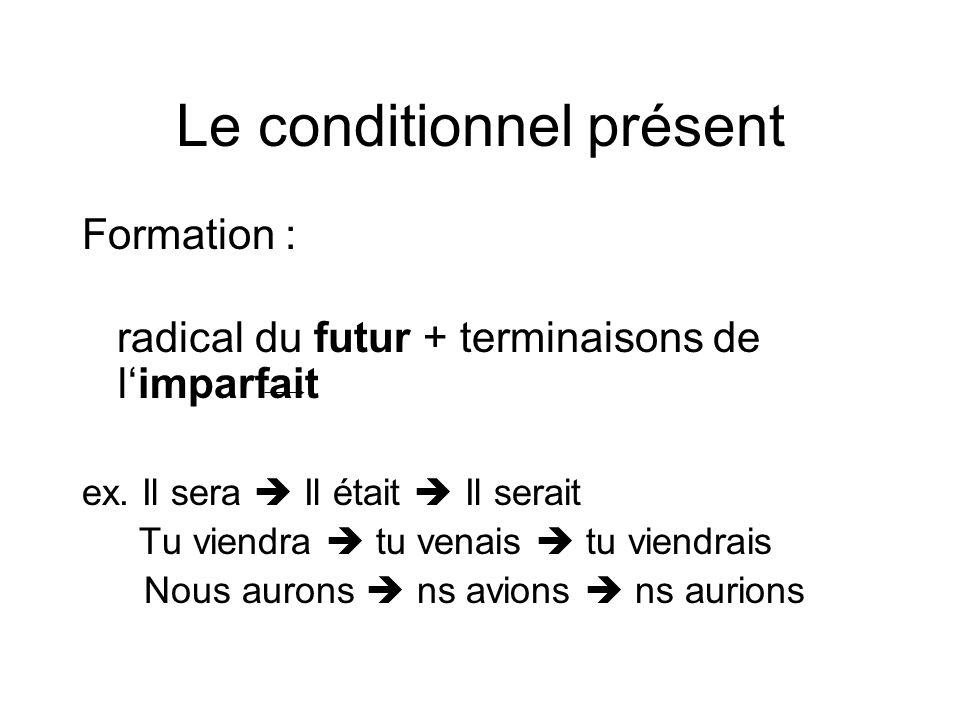 Le conditionnel présent Formation : radical du futur + terminaisons de l'imparfait ex. Il sera  Il était  Il serait Tu viendra  tu venais  tu vien