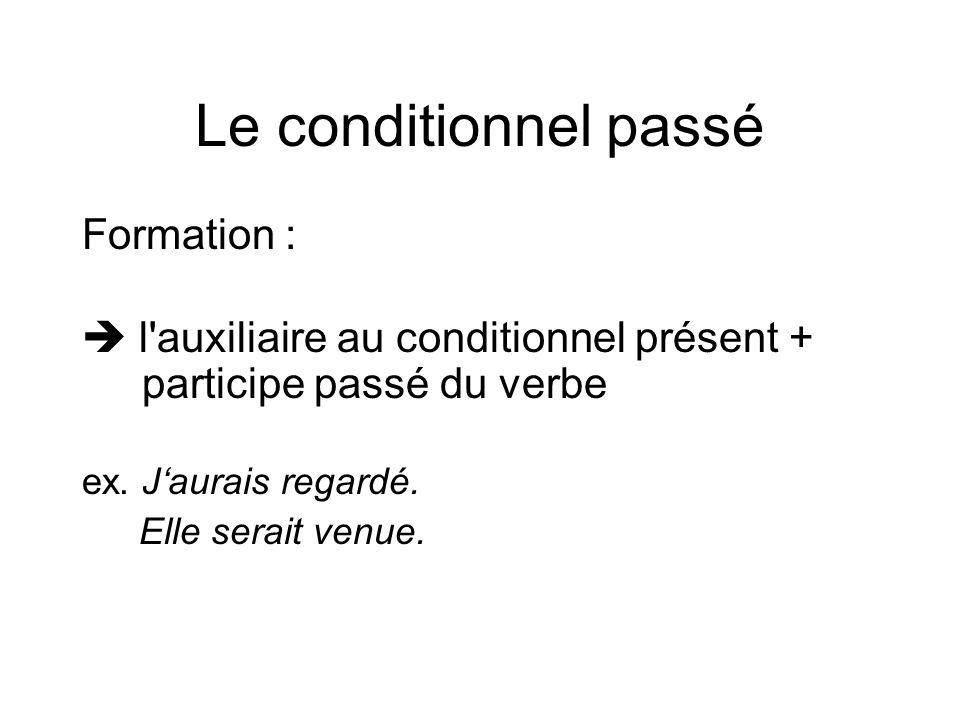 Le conditionnel passé Formation :  l'auxiliaire au conditionnel présent + participe passé du verbe ex. J'aurais regardé. Elle serait venue.