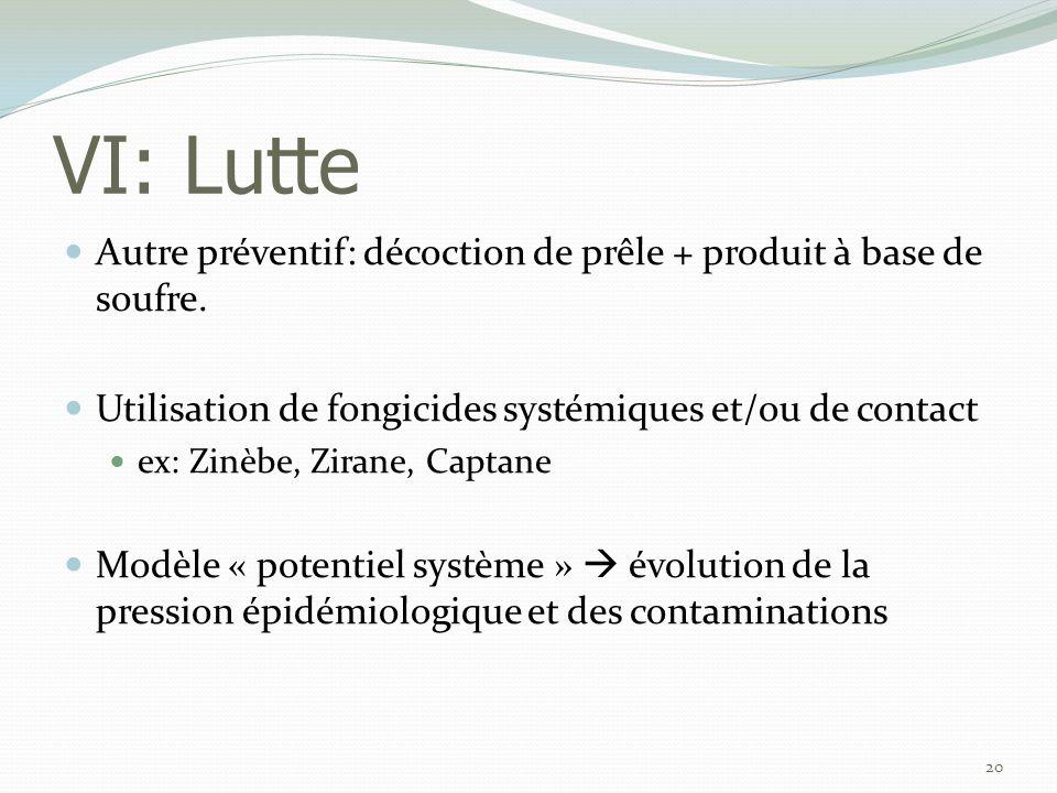 VI: Lutte  Autre préventif: décoction de prêle + produit à base de soufre.  Utilisation de fongicides systémiques et/ou de contact  ex: Zinèbe, Zir