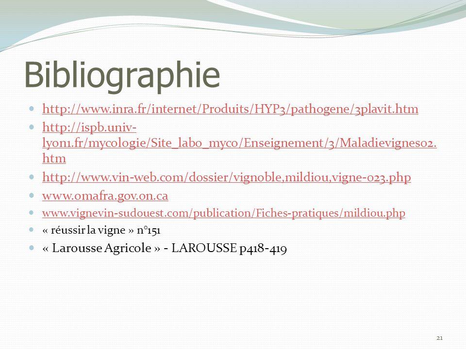Bibliographie  http://www.inra.fr/internet/Produits/HYP3/pathogene/3plavit.htm http://www.inra.fr/internet/Produits/HYP3/pathogene/3plavit.htm  http