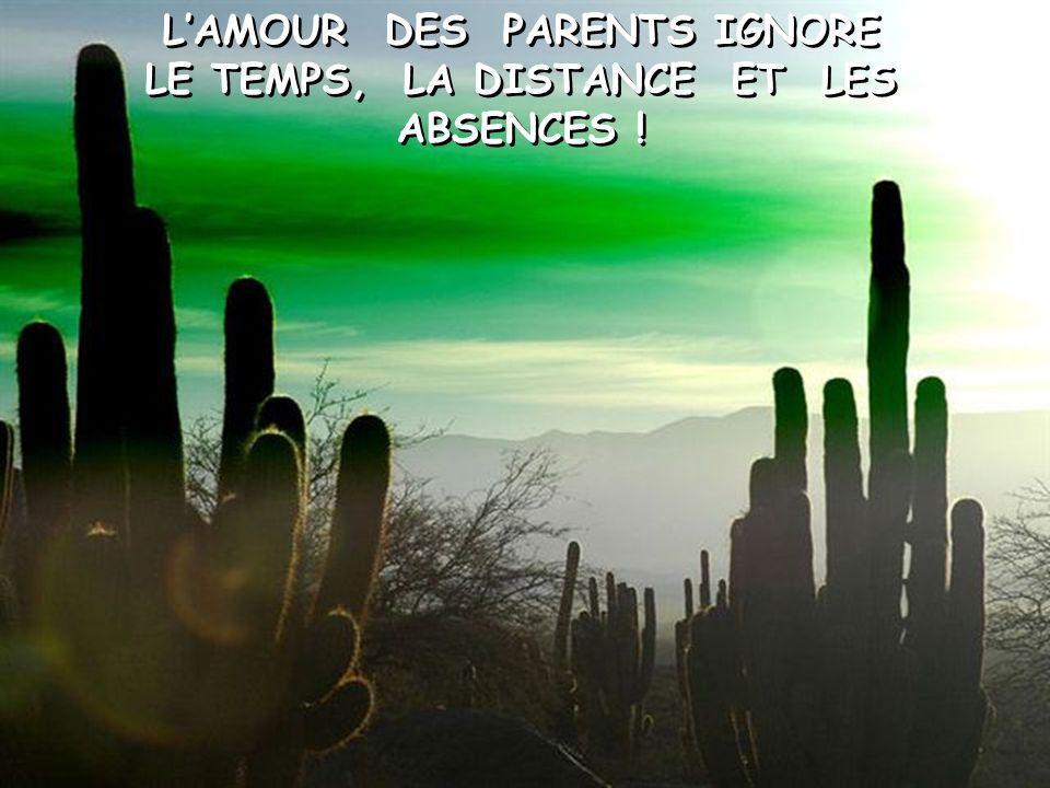 L'AMOUR DES PARENTS EST LE PLUS GRAND TRÉSOR. DOMMAGE QUE CERTAINS ENFANTS NE S'EN APERÇOIVENT QUE LORSQUE CEUX–CI SONT PARTIS.