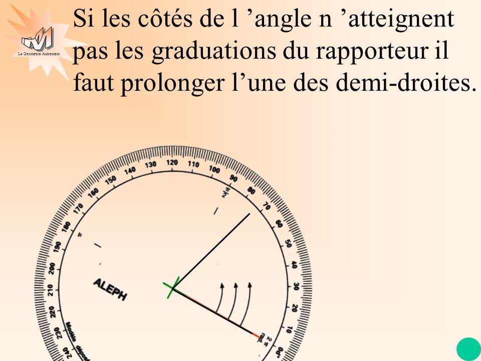 La Géométrie Autrement Si les côtés de l 'angle n 'atteignent pas les graduations du rapporteur il faut prolonger l'une des demi-droites.