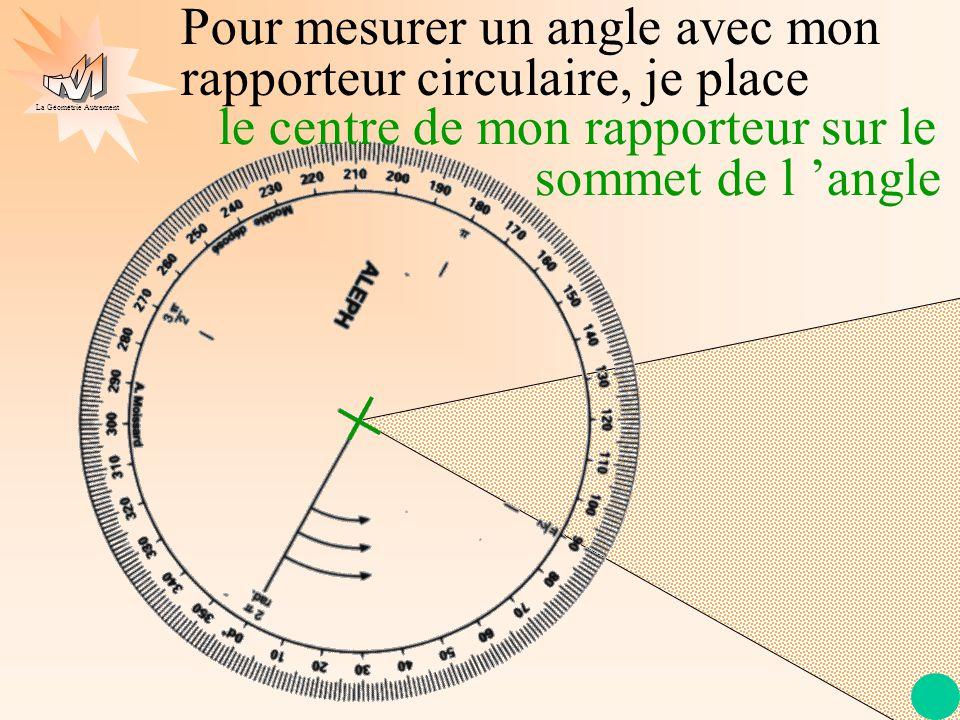 La Géométrie Autrement le trait de mon rapporteur sur l 'une des demi- droites Pour mesurer un angle avec mon rapporteur circulaire, je place