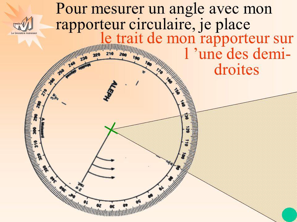La Géométrie Autrement Pour mesurer un angle avec mon rapporteur circulaire, je place le trait de mon rapporteur sur l 'une des demi- droites