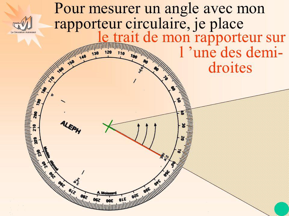 La Géométrie Autrement les flèches de mon rapporteur sur l 'angle à mesurer Pour mesurer un angle avec mon rapporteur circulaire, je place