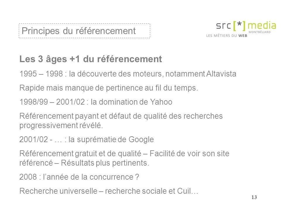 13 Les 3 âges +1 du référencement 1995 – 1998 : la découverte des moteurs, notamment Altavista Rapide mais manque de pertinence au fil du temps.