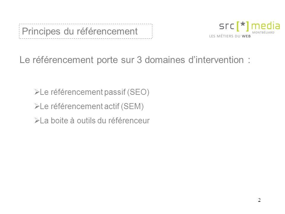 2 Le référencement porte sur 3 domaines d'intervention :  Le référencement passif (SEO)  Le référencement actif (SEM)  La boite à outils du référenceur Principes du référencement