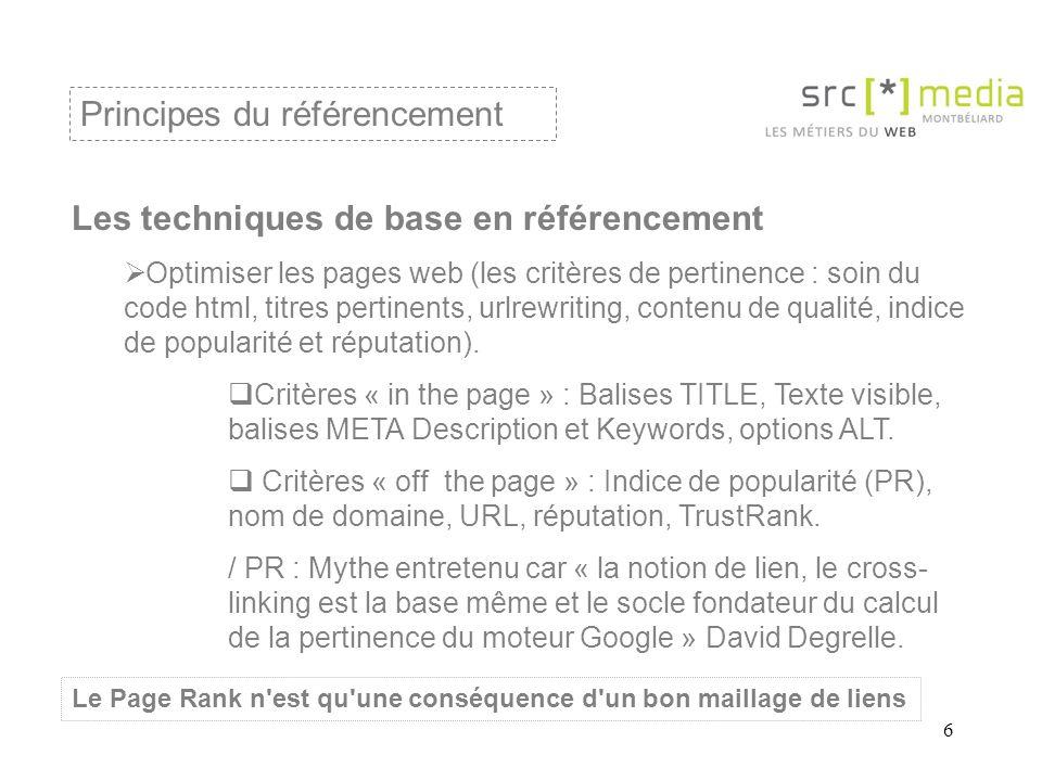 6 Les techniques de base en référencement  Optimiser les pages web (les critères de pertinence : soin du code html, titres pertinents, urlrewriting, contenu de qualité, indice de popularité et réputation).