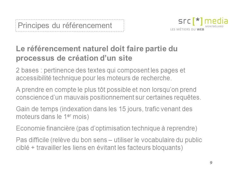 9 Le référencement naturel doit faire partie du processus de création d'un site 2 bases : pertinence des textes qui composent les pages et accessibilité technique pour les moteurs de recherche.