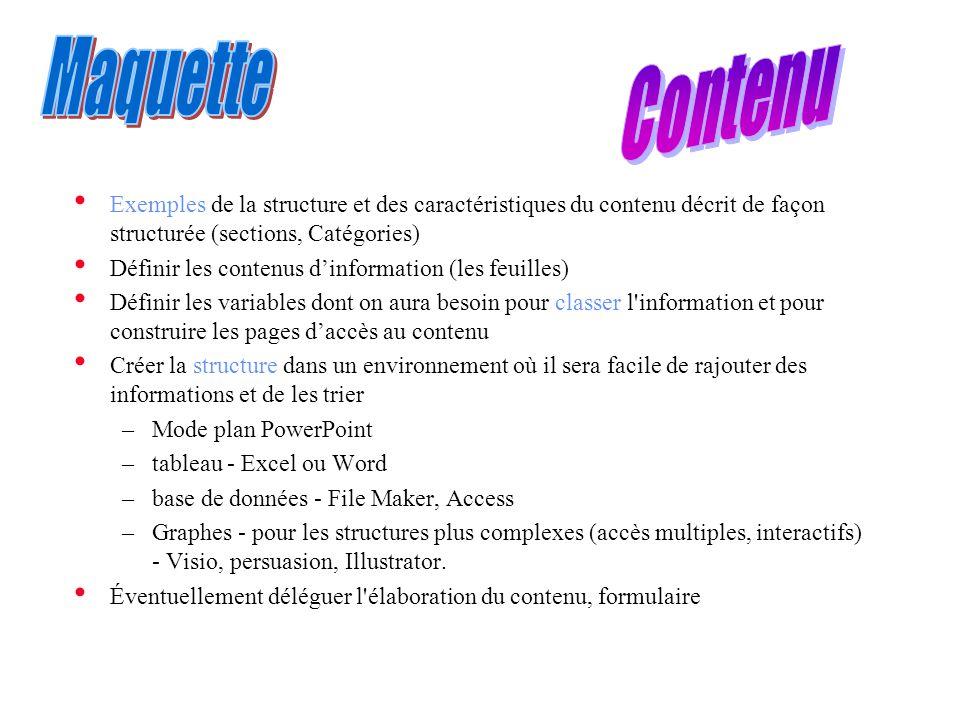 • Exemples de la structure et des caractéristiques du contenu décrit de façon structurée (sections, Catégories) • Définir les contenus d'information (