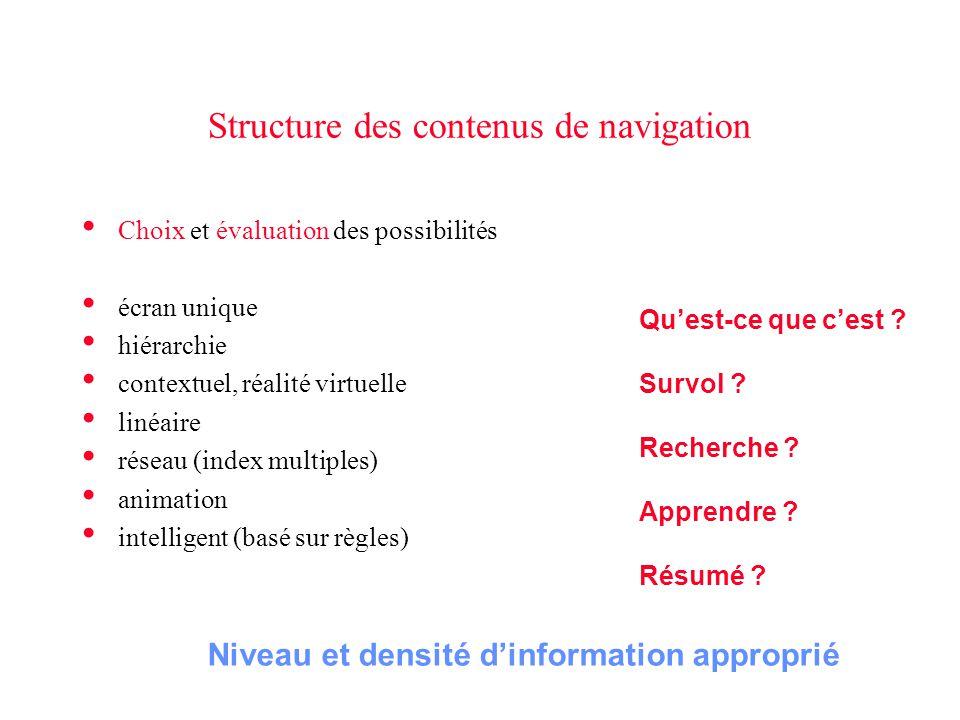 Structure des contenus de navigation • Choix et évaluation des possibilités • écran unique • hiérarchie • contextuel, réalité virtuelle • linéaire • r